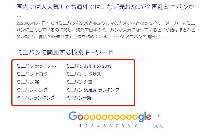 検索結果(SERP)の一番下に表示される、関連キーワード